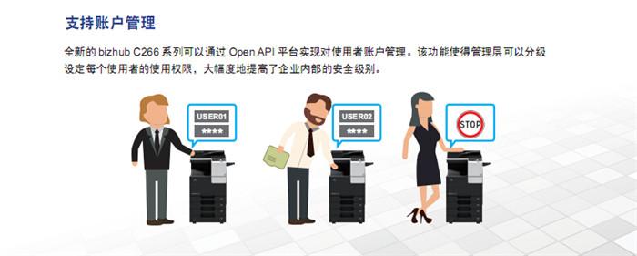 柯尼卡美能达C226彩色复印机支持的账户管理-科颐办公
